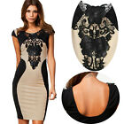 Sexy Women Lace Short Sleeve Slim Fashion Bodycon Party Cocktail Evening Dress