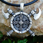 Viking Barbarian Gladiator Medieval God Double Ax Axe Axes Shield Pewter Pendant