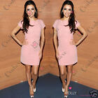 Womens Loose Fitted Relaxed Tunic T-shirt Shift Pink Ladies Plain Basic Dress
