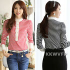 Korean Ladies Long Sleeve Lace Trim Striped Button Fitted OL Tops T-Shirt Blouse