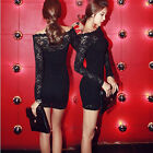 2014 new black long sleeve boat neck sexy fashion sexy black lace dress