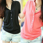 NEW Women's V Neck Solid Color Trendy Shoulder Chiffon Shirt Blouse Top Girl CH