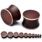 2x Punk Brown Acrylic Double Flare Saddle Ear Plug Flesh Tunnel Taper 4MM-20MM