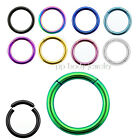 "2pcs. 16g~1/4"" to 1/2"" Anodized 316L Segment Ring Earing, Septum, Lip, Nose ring"
