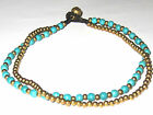 BEADED ANKLET BLUE OR RED BEADS ANKLE BRACELET FOOT BEACH SURF HIPPIE WOMEN