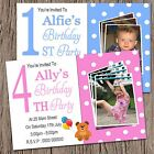 Personalised 1st 2nd 3rd 4th Any Age Boys Girls Birthday Party Photo Invite P01