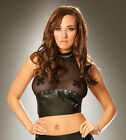 Black Fishnet Leather Halter Top with Nail Heads Studs Lingerie L4569