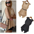 Womens Irregular Sleeveless Vest Waist False two Chiffon Shirt Dress Top Blouse