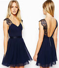 V Neck Lace halter Club Evening Cocktail Formal Party chiffon dress Women Sexy