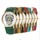 Fashion Geneva Women Men Skull Gold Analog Watch PU Leather Quartz Sport Watch