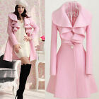 Womens Long Sleeve Turn-down Collar Trench Coat Jacket Outwear One Button Tops