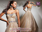 SEXY Gold Sequins Prom Bridal Wedding Gown Mermaid Formal Long Evening Dresses