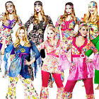 1960s Hippy Flares + Top Ladies Fancy Dress 70s Womens Hippie Sixties Costume