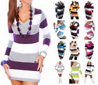 NEW WOMENS V NECK STRIPED HIP LENGTH MINI DRESS TUNIC JUMPER FOR PARTY/CASUAL