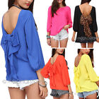 Leopard Womens Backless Bowknot Long Sleeve Chiffon Blouse Tops T-Shirts Vests