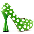 Black/Green Polka Dots Closed Toe Platform Cone Heel Pump Size 2.5/3/4/5/6/7/7.5