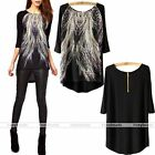2014 Women Peacock Tail Printed Asymmetric Hem Back T-Shirt Top Long Blouse FB