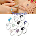 Adjustable Stunning Crystal Quartz Gem Hexagon Healing Point Chakra Bead Ring