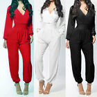 Womens V Neck Long Sleeve Jumpsuit Cocktail Evening Party Romper Pants Trousers