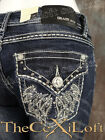 Womens GRACE IN LA Bootcut Jeans Silver Wings Pockets with Crystals!