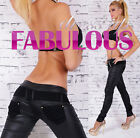 NEW SEXY 6 8 10 12 WOMEN'S TRENDY LEATHER LOOK SKINNY PANTS LOW RISE JEANS STYLE