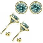 1.50 Carat Blue Diamond Halo Screw Back Martini Women Earrings 14K Yellow Gold