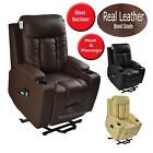 NAPOLI BONDED LEATHER OR FABRIC RISER RECLINER DUAL MOTOR CHAIR MASSAGE HEAT