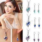 Austrian Crystal 18K White GP Dangle Luxury Eyes Necklace Earrings Jewellery Set