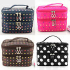 Women Toiletry Travel Double Layer Container Case Cosmetic Makeup Dot Bag ZB0046