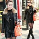 Womens Sexy Punk Slim Faux Pu Leather Jacket Motorcycle Biker Zipper Blazer Coat