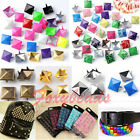 100x Punk Colors Metal Square Pyramid Rivet Cone Studs Nailhead Craft Spike DIY
