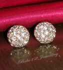 Simulated Diamond White/Gold Plated Round Stud Earring/RGE204/091