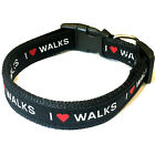 Dog collar Nylon I Love WALKS Personalized S M L Male Female Adjustable New