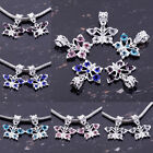 NEW Lots Crystal Silver Plated Big Hole Butterfly Dangle Bead Fit Charm Bracelet