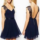Womens Lace Shoulder Chiffon Backless V Neck Evening Cocktail Party Skater Dress
