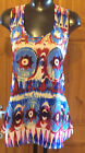 Ladies Blue Tribal Print Sleeveless Casual Polyester Blouse Top Sizes 10-16