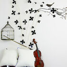 3D Flowers Wall Sticker Decal Home Interior Decoration Black