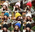 Women's Winter Warm Crochet  Caps Knitting Wool Hats Beret Ski Beanie Ball Hats