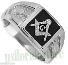 Square Black Masonic Mason .925 Sterling Silver One Crystal Mens Ring