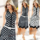Womens Vintage Rockabilly Pinup Colorblock Work Cocktail Party Skater Dress 666