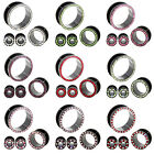 13 Sizes Multi Color Crystal Gems Black Stainless Steel Flesh Tunnels Ear Plugs