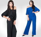 NEW Womens One Shoulder Playsuit Jumpsuit Versatile Party Plus Pants S M L XL 2X