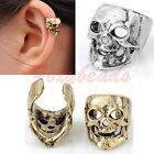 1x Cool Punk Vintage Biker Skull Ear Cuff Clip-on Earring Stud Non Piericng FB