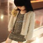 Kids Toddlers Zipper Girls Baby Coat Faux Fur Jacket Outwear Sweater Cape 2-9Y
