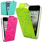 Sparkling crystal Diamante bling shining Floral Pu Leather Flip Case Cover
