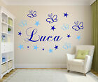 Personalised name for boys +girl stars and butterflies wall art sticker  mural*