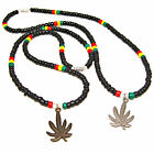 Ire Rasta Surfer Colors Pewter Pot Leaf Coconut Bead Necklace 18 or 22 inch 7268