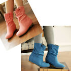 Gils Women Lovey Colorful Flat Style Ankle Boots Slouch Faux Suede Slip On Shoes