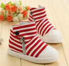 Boys girls boots canvas zip button stripe casual kids shoes Blue Red UK cs161