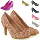 Womens Glitter Shoes Bridal Slip On Low Heel Ladies Evening Party Courts Size